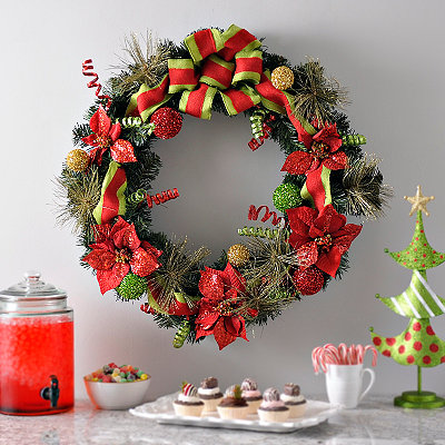 Burlap Pine Poinsettia Wreath