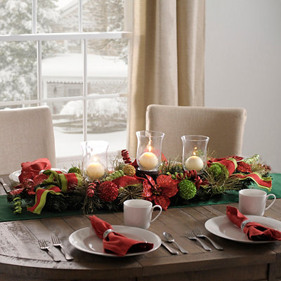 Burlap Pine Poinsettia Centerpiece