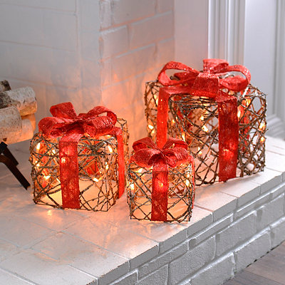 Pre-Lit Brown Rattan Bowed Gifts, Set of 3