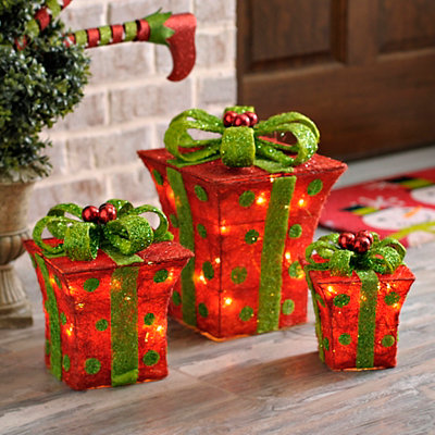 Pre-Lit Polka Dot Sisal Bowed Gifts, Set of 3
