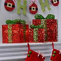 Pre-Lit Red Sequin Wrapped Gifts, Set of 3