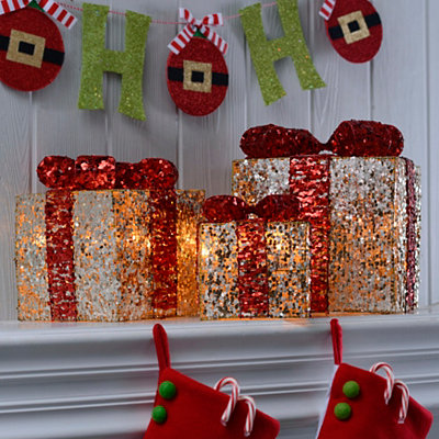 Pre-Lit Gold Sequin Wrapped Gift, Set of 3