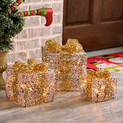 Pre-Lit White Rattan Bowed Gifts, Set of 3