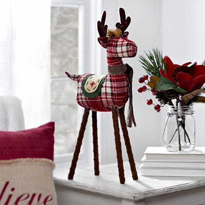 Standing Plaid Reindeer Plush