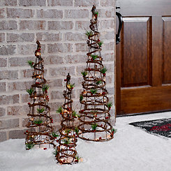Pre-Lit Rattan Cone Berry Trees, Set of 3