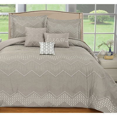 Gray Chevron 6-piece Queen Comforter Set