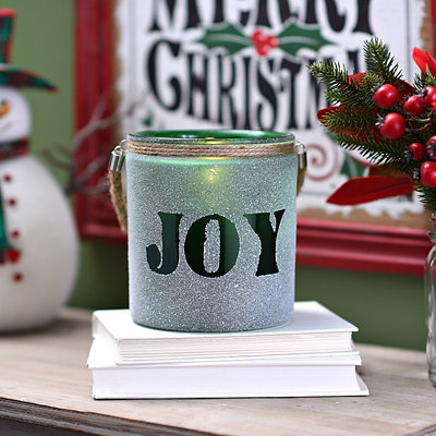 Frosted Green Joy Lantern