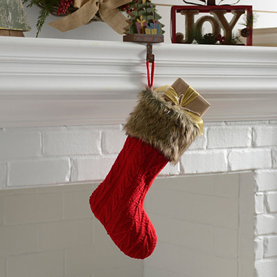 Red Knit Stocking With Fur