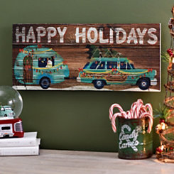 Happy Holidays Car and Camper Plaque