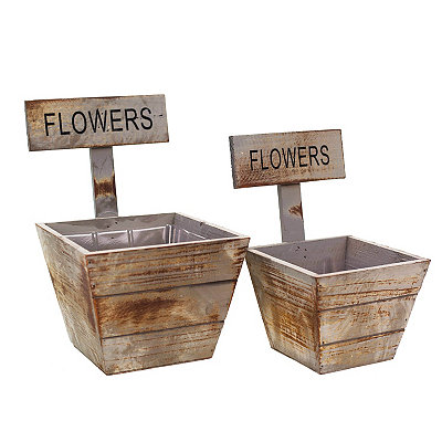 Wood Flower Planters, Set of 2