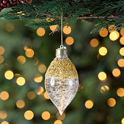 LED Gold Glitter Finial Ornament