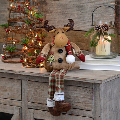Burlap Plaid Reindeer Shelf Sitter