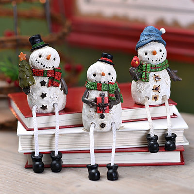 White Burlap Snowman Shelf Sitters, Set of 3