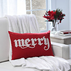 Red Embroidered Merry Pillow