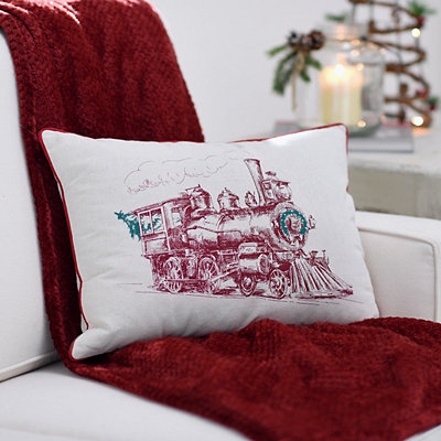 Vintage Holiday Train Pillow