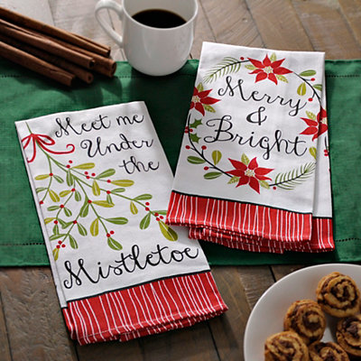 Merry Mistletoe Decorative Hand Towels, Set of 2