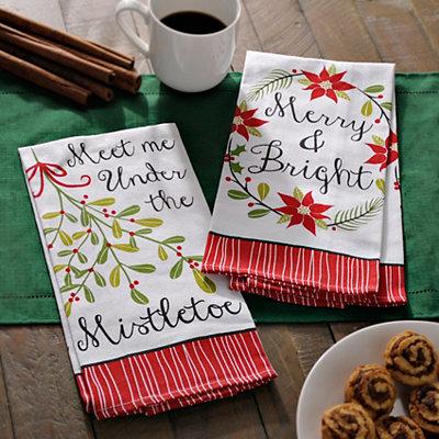 Merry Mistletoe Decorative Hand Towels, Set of 2