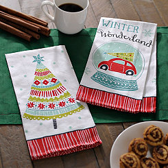 Car and Tree Decorative Hand Towels, Set of 2