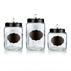 Black Scalloped Chalkboard Canister Set