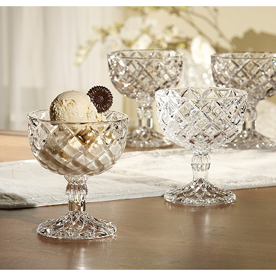 Cut Crystal Pedestal Cups, Set of 4