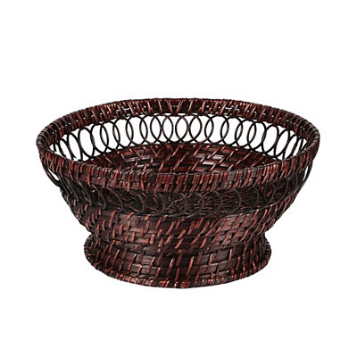 Chocolate Brown Rattan Pedestal Bowl