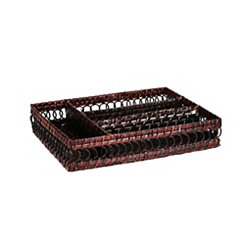 Chocolate Brown Rattan Drawer Organizer