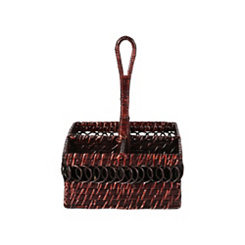 Chocolate Brown Rattan Utensil Caddy