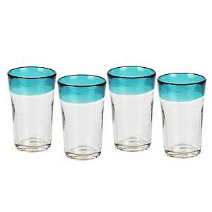 Blue Rim Highball Glasses, Set of 4