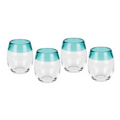 Blue Rim Stemless Glasses, Set of 4