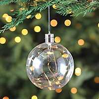 Pre-Lit Copper Wire Glass Ornament