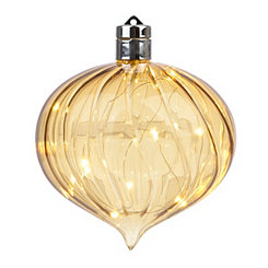 Pre-Lit Gold Luster Swirling Glass Ornament