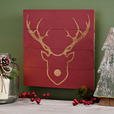 Red Reindeer Silhouette Wooden Plaque