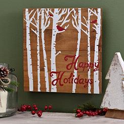 Happy Holidays Birds Wooden Plaque