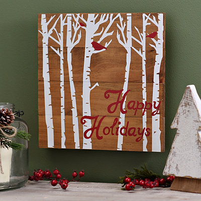 Happy Holidays Birds Wooden Plaque