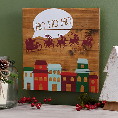 Ho Ho Ho Flying Santa Wooden Plaque