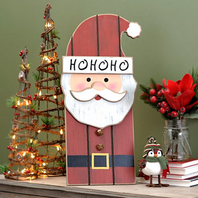 Ho Ho Ho Santa Wood Plank Plaque