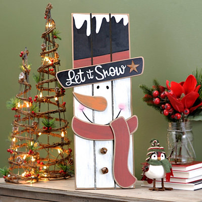 Let It Snow Snowman Wood Plank Plaque