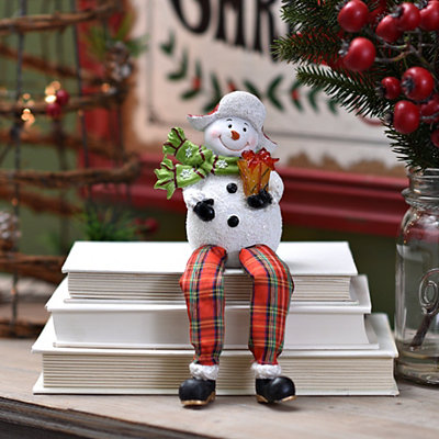Pre-Lit Smiling Snowman Shelf Sitters, Set of 2