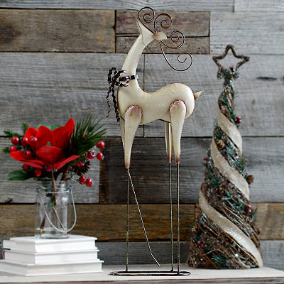 Cream Metal Reindeer Statue