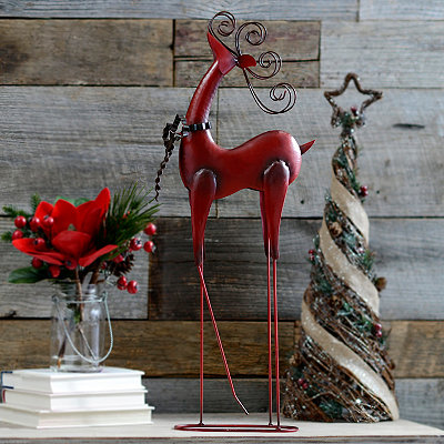 Red Metal Reindeer Statue