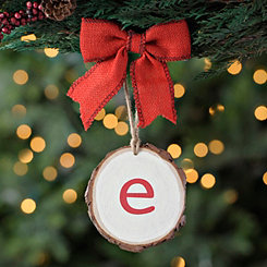 Wood Slice Monogram E Ornament