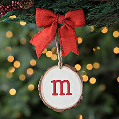Wood Slice Monogram M Ornament