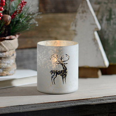 White Reindeer Mercury Glass Votive Candle Holder
