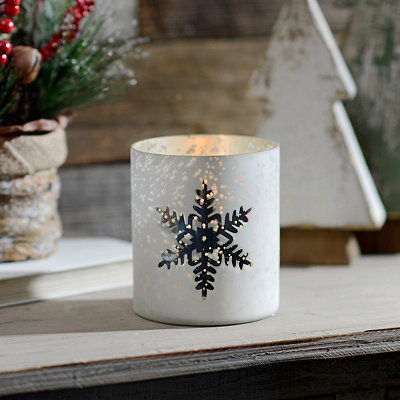 White Snowflake Mercury Glass Votive Candle Holder