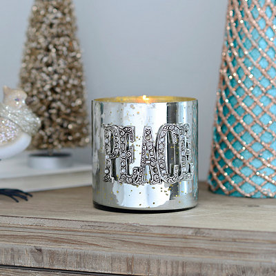 Glamorous Peace Metallic Votive Candle Holder