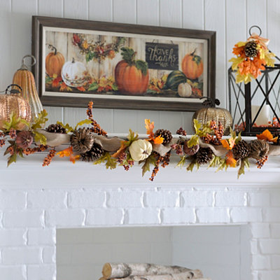 Natural Pumpkin Garland, 6 ft.