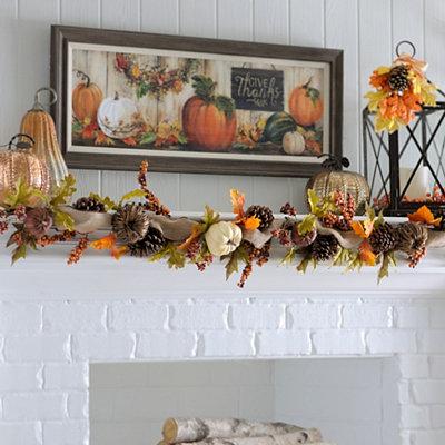 Natural Pumpkin Garland, 6 ft.