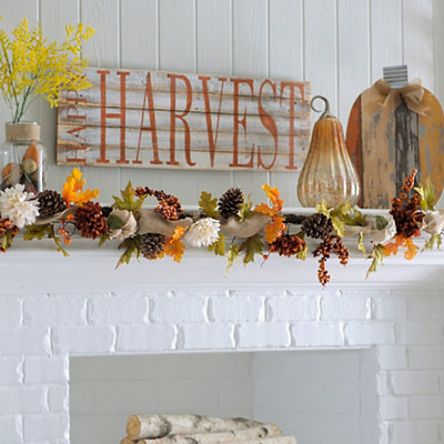 Burlap Mum and Pumpkin Garland, 6 ft.