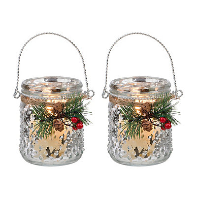 Mercury Silver Dot Lanterns, Set of 2