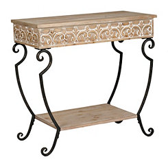 Melia Carved 2-Tier Console Table